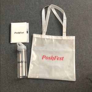 Poshfest swag. Bag, bottle & notebook. NEW